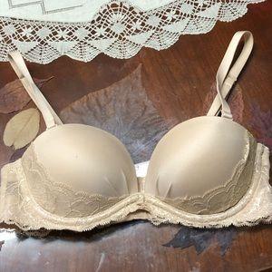 Victoria's Secret lace beige shimmer bra